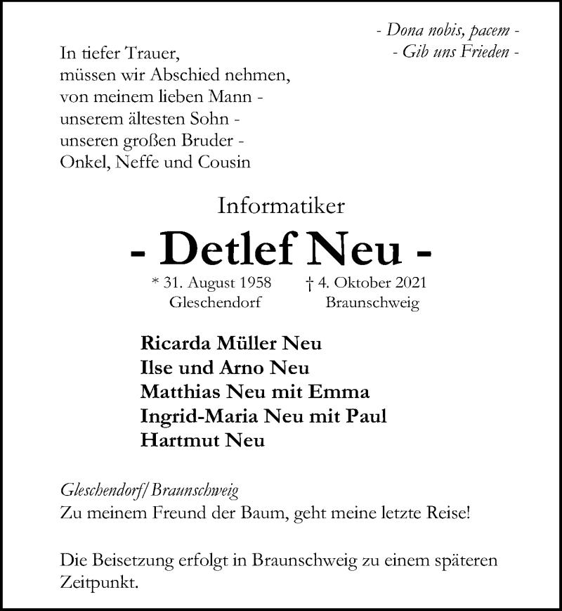 Traueranzeige für Detlef Neu vom 10.10.2021 aus Lübecker Nachrichten