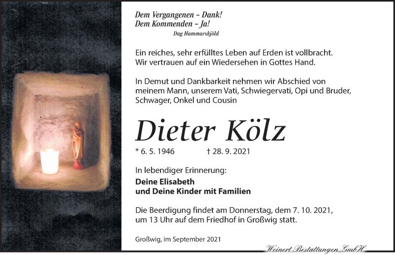 Traueranzeige für Dieter Kölz vom 02.10.2021 aus Torgauer Zeitung