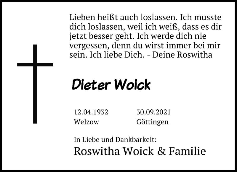 Traueranzeige für Dieter Woick vom 09.10.2021 aus Göttinger Tageblatt