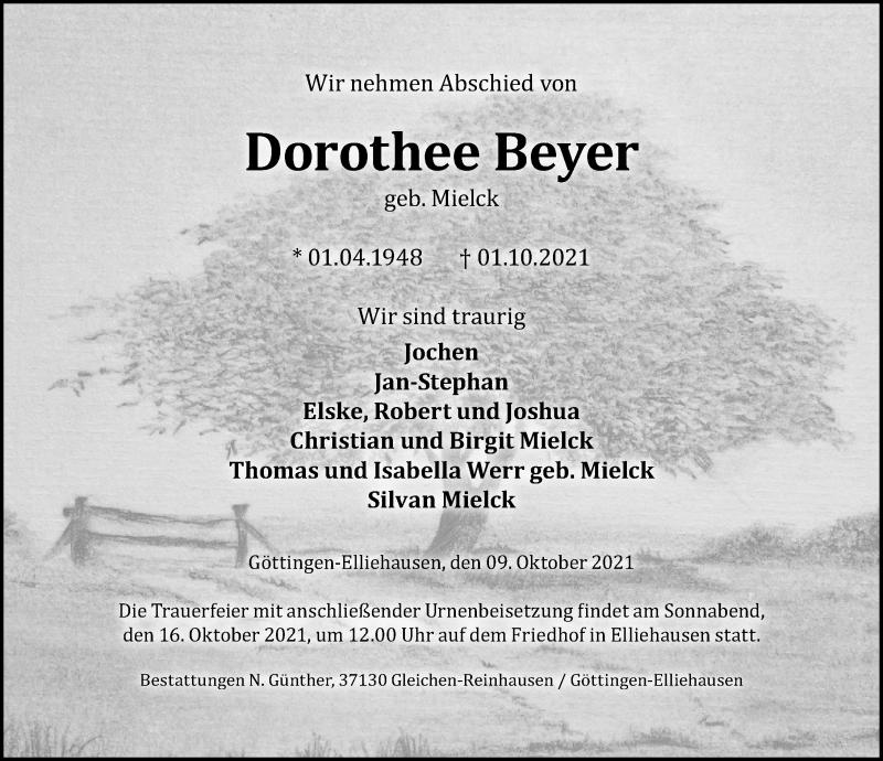 Traueranzeige für Dorothee Beyer vom 09.10.2021 aus Göttinger Tageblatt