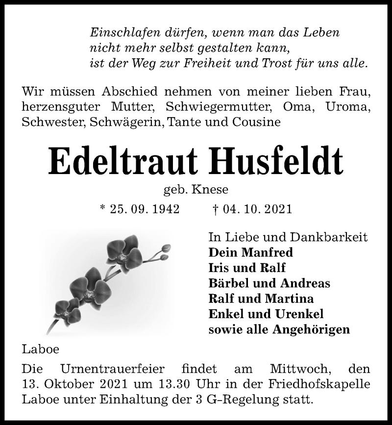 Traueranzeige für Edeltraut Husfeldt vom 09.10.2021 aus Kieler Nachrichten