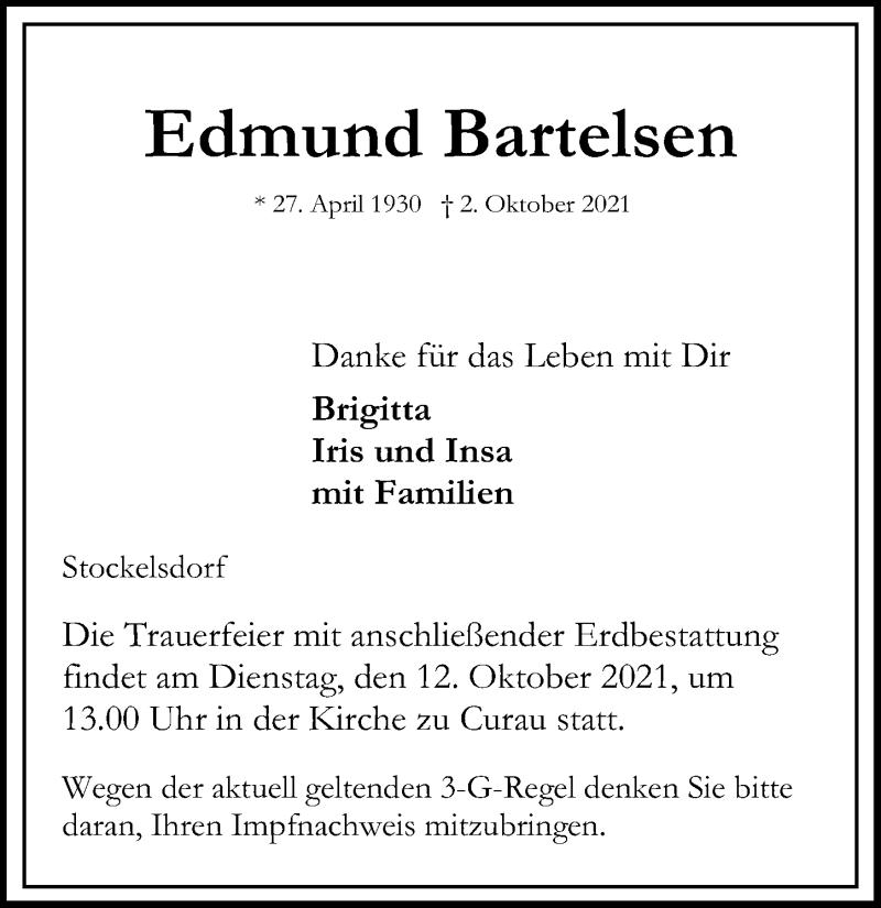 Traueranzeige für Edmund Bartelsen vom 10.10.2021 aus Lübecker Nachrichten