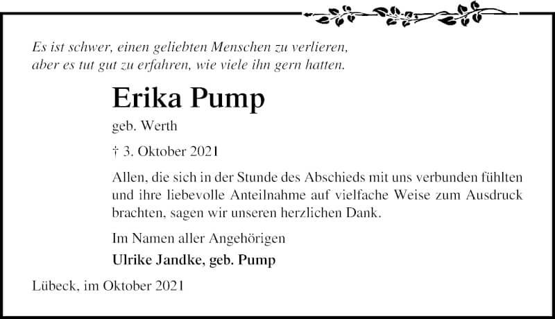 Traueranzeige für Erika Pump vom 24.10.2021 aus Lübecker Nachrichten