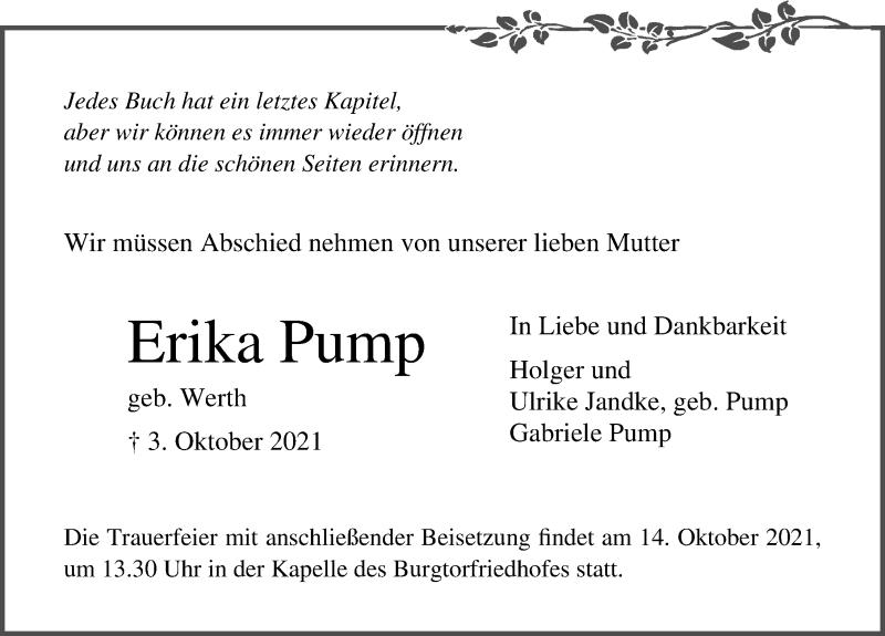 Traueranzeige für Erika Pump vom 10.10.2021 aus Lübecker Nachrichten