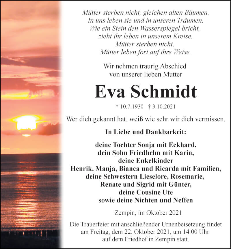 Traueranzeige für Eva Schmidt vom 09.10.2021 aus Ostsee-Zeitung GmbH
