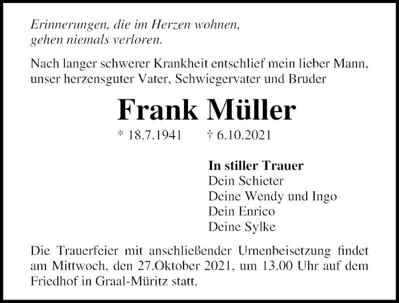 Traueranzeige für Frank Müller vom 09.10.2021 aus Ostsee-Zeitung GmbH
