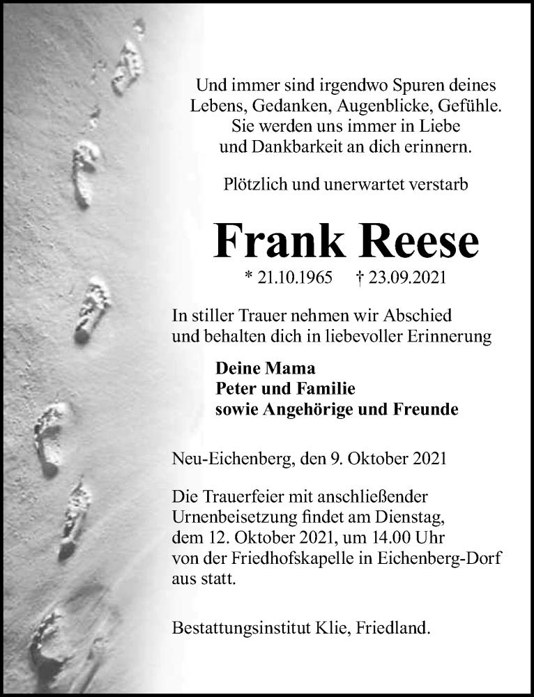 Traueranzeige für Frank Reese vom 09.10.2021 aus Göttinger Tageblatt