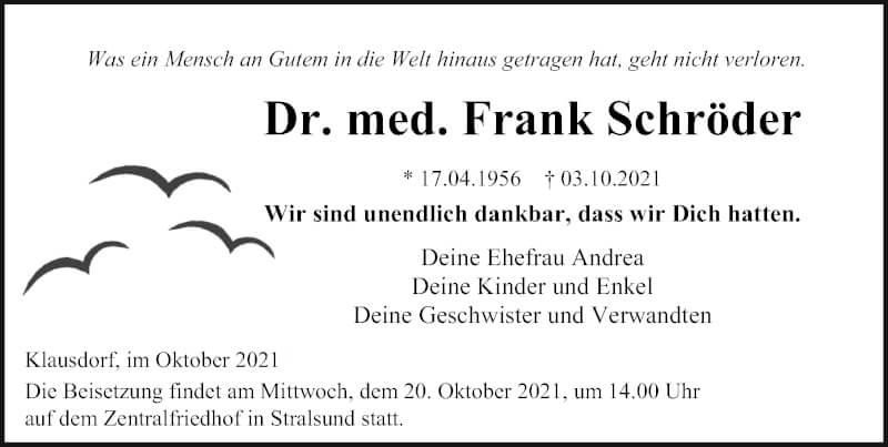 Traueranzeige für Frank Schröder vom 09.10.2021 aus Ostsee-Zeitung GmbH