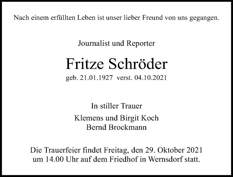 Traueranzeige für Fritze Schröder vom 09.10.2021 aus Märkischen Allgemeine Zeitung