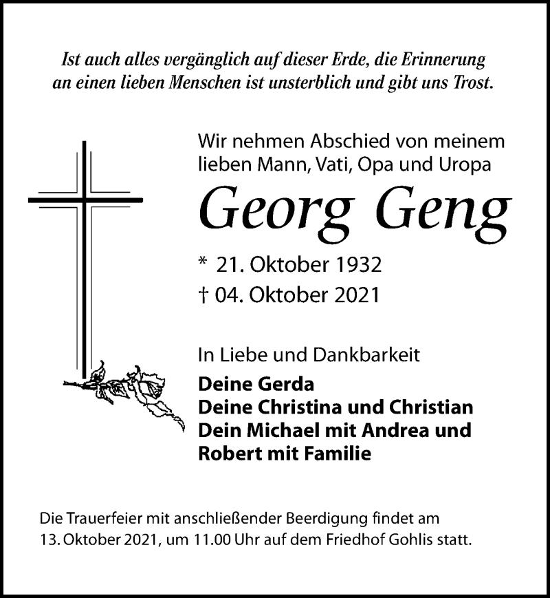 Traueranzeige für Georg Geng vom 09.10.2021 aus Leipziger Volkszeitung