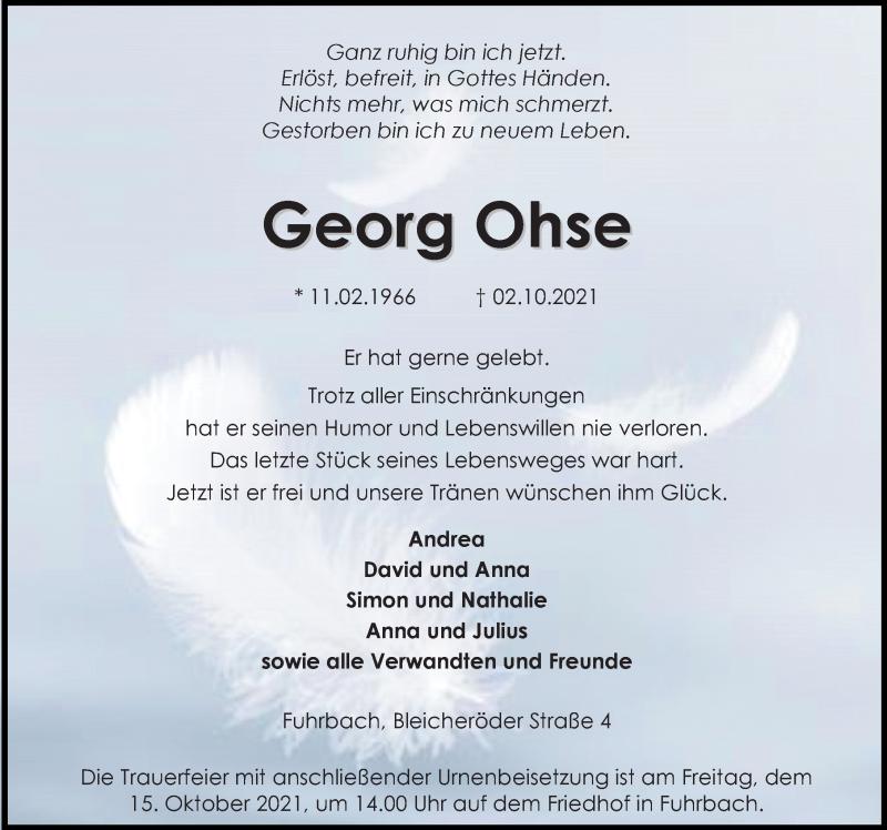 Traueranzeige für Georg Ohse vom 09.10.2021 aus Eichsfelder Tageblatt