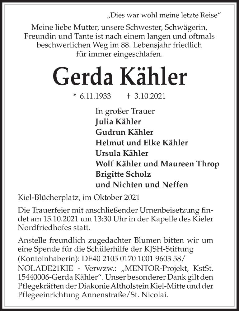 Traueranzeige für Gerda Kähler vom 09.10.2021 aus Kieler Nachrichten