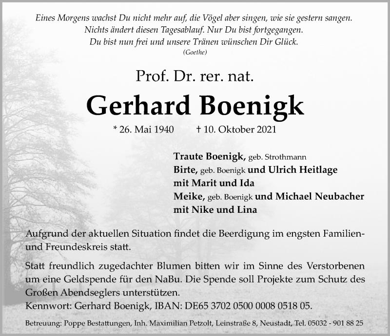 Traueranzeige für Gerhard Boenigk vom 13.10.2021 aus Hannoversche Allgemeine Zeitung/Neue Presse