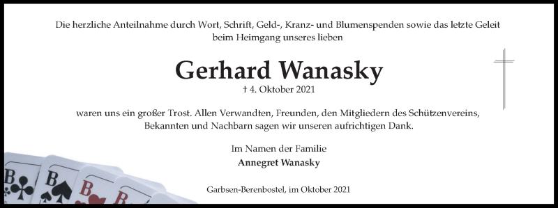 Traueranzeige für Gerhard Wanasky vom 23.10.2021 aus Hannoversche Allgemeine Zeitung/Neue Presse