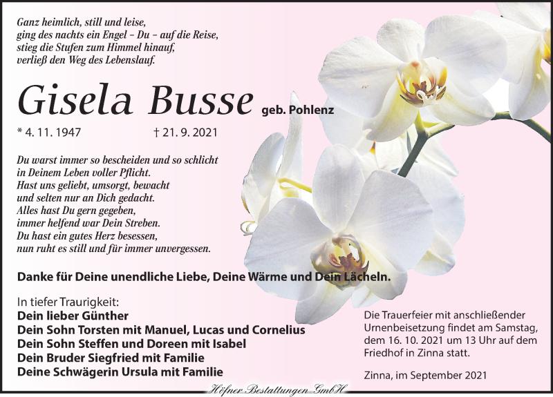 Traueranzeige für Gisela Busse vom 02.10.2021 aus Leipziger Volkszeitung