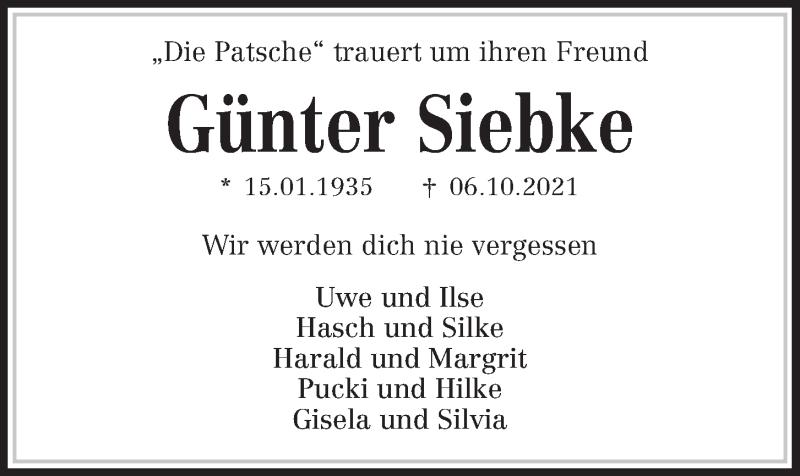 Traueranzeige für Günter Siebke vom 09.10.2021 aus Kieler Nachrichten