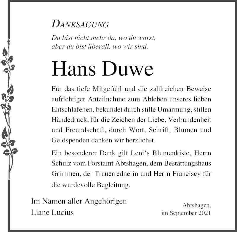 Traueranzeige für Hans Duwe vom 09.10.2021 aus Ostsee-Zeitung GmbH