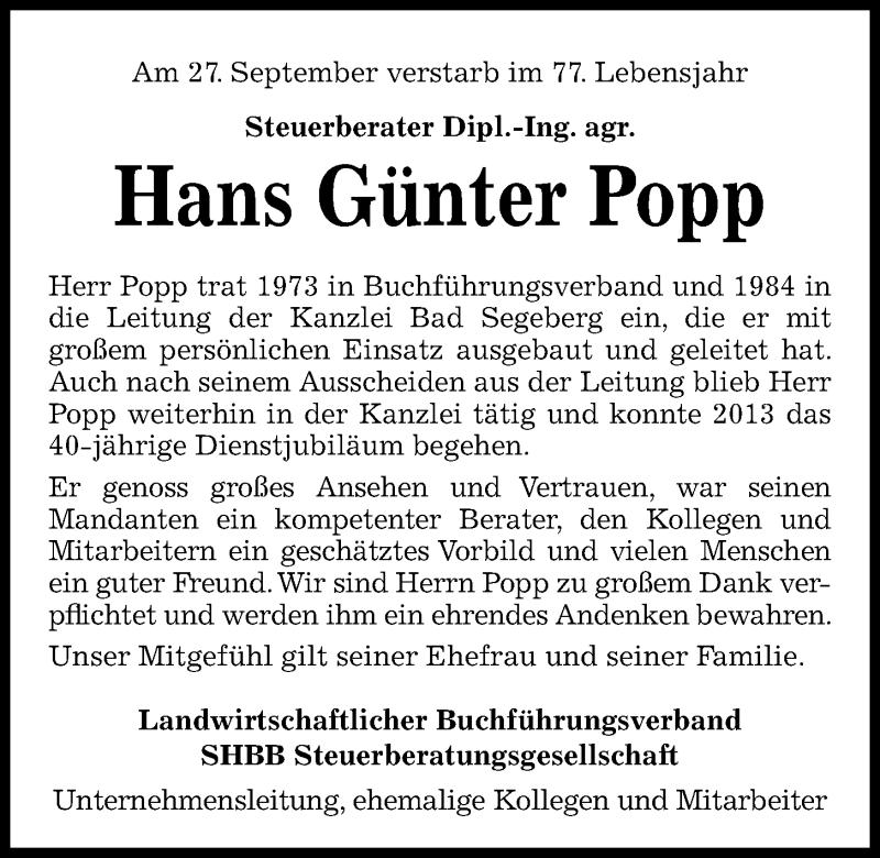 Traueranzeige für Hans Günter Popp vom 09.10.2021 aus Kieler Nachrichten