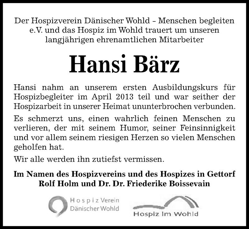 Traueranzeige für Hansi Bärz vom 07.10.2021 aus Kieler Nachrichten