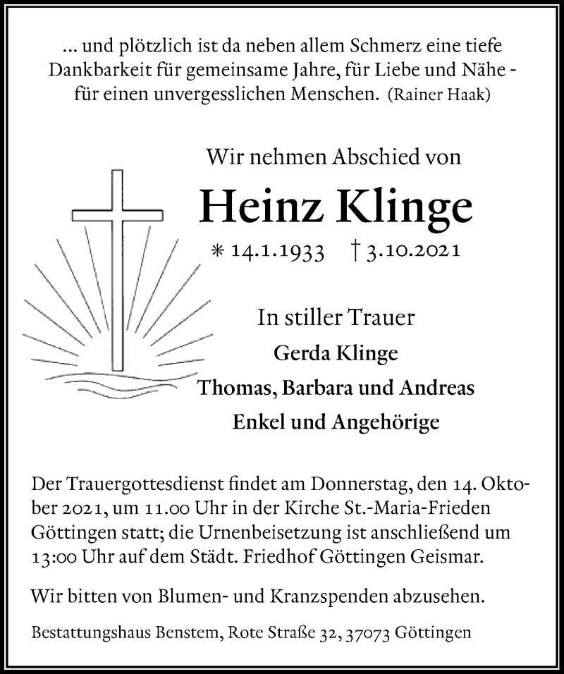 Traueranzeige für Heinz Klinge vom 09.10.2021 aus Göttinger Tageblatt