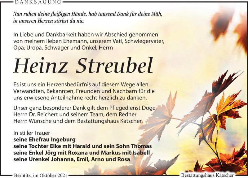 Traueranzeige für Heinz Streubel vom 23.10.2021 aus Leipziger Volkszeitung
