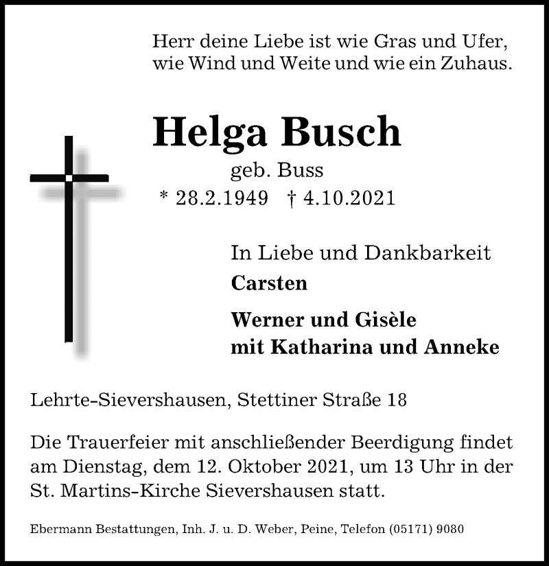 Traueranzeige für Helga Busch vom 09.10.2021 aus Hannoversche Allgemeine Zeitung/Neue Presse
