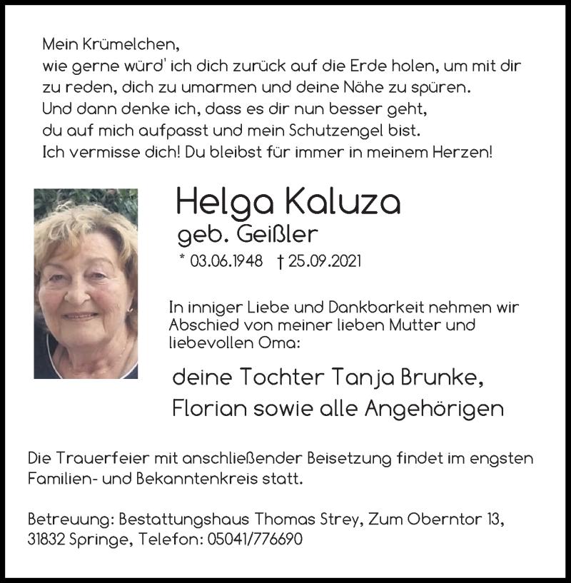 Traueranzeige für Helga Kaluza vom 02.10.2021 aus Hannoversche Allgemeine Zeitung/Neue Presse