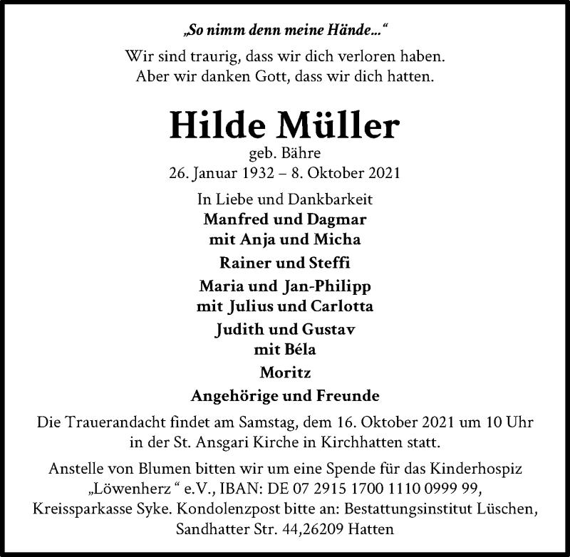 Traueranzeige für Hilde Müller vom 13.10.2021 aus Hannoversche Allgemeine Zeitung/Neue Presse