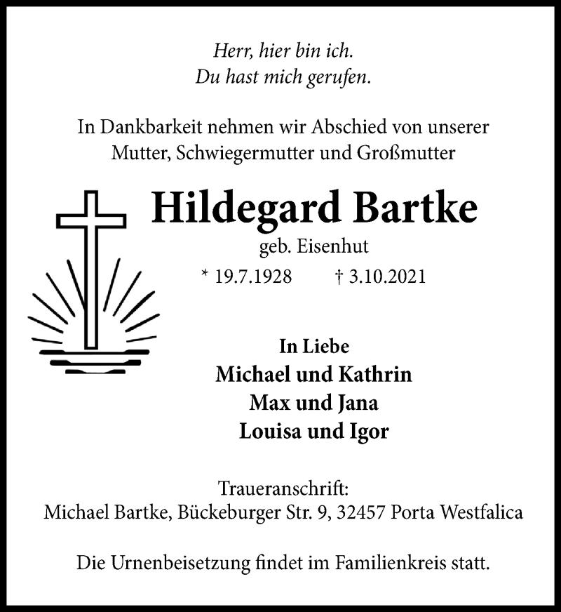 Traueranzeige für Hildegard Bartke vom 09.10.2021 aus Schaumburger Nachrichten