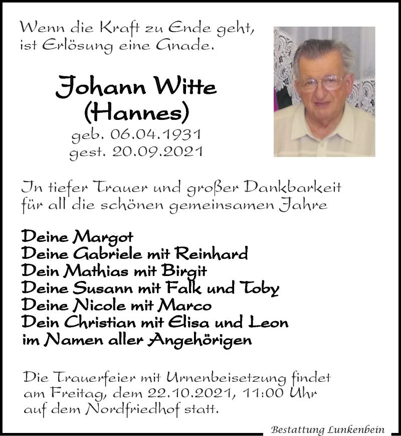 Traueranzeige für Hohann Witte vom 09.10.2021 aus Leipziger Volkszeitung