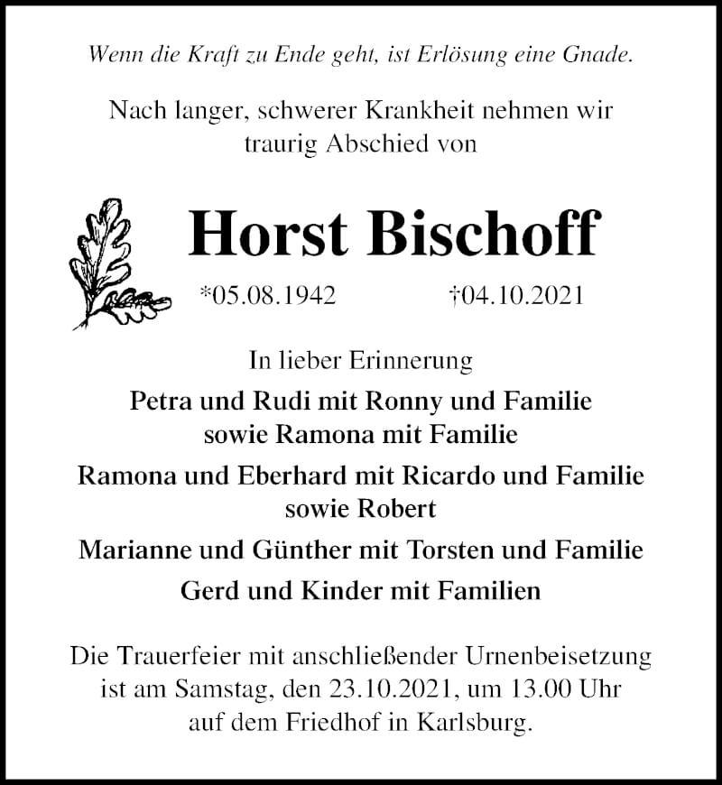 Traueranzeige für Horst Bischoff vom 09.10.2021 aus Ostsee-Zeitung GmbH