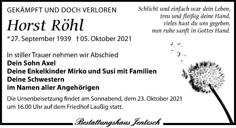 Traueranzeige für Horst Röhl vom 09.10.2021 aus Leipziger Volkszeitung