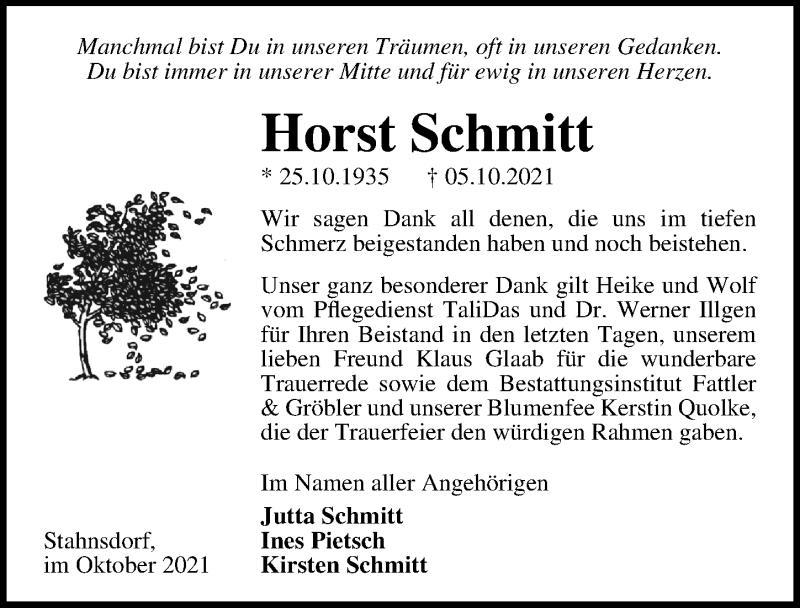 Traueranzeige für Horst Schmitt vom 23.10.2021 aus Märkischen Allgemeine Zeitung