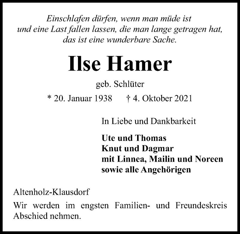 Traueranzeige für Ilse Hamer vom 09.10.2021 aus Kieler Nachrichten