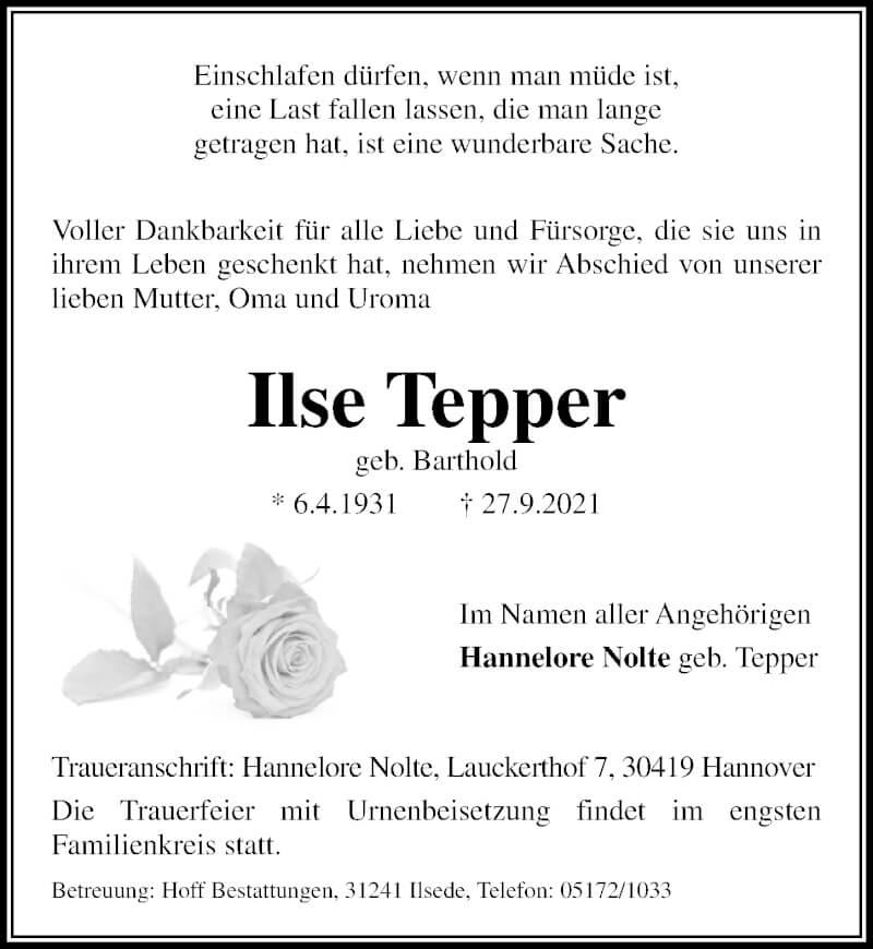 Traueranzeige für Ilse Tepper vom 02.10.2021 aus Peiner Allgemeine Zeitung