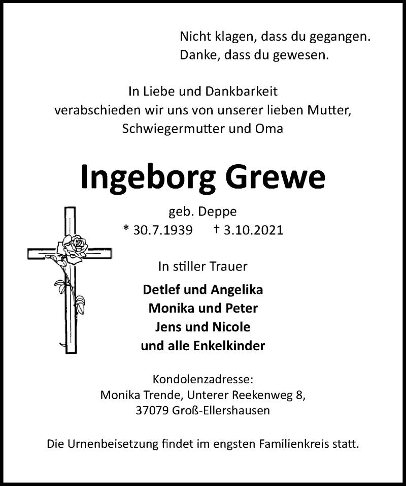 Traueranzeige für Ingeborg Grewe vom 09.10.2021 aus Göttinger Tageblatt