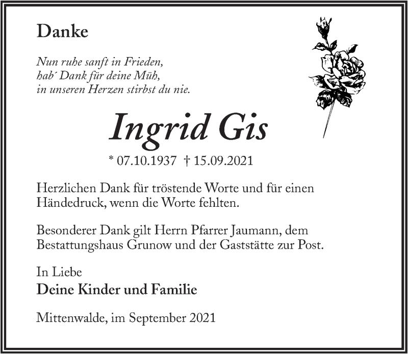 Traueranzeige für Ingrid Gis vom 02.10.2021 aus Märkischen Allgemeine Zeitung