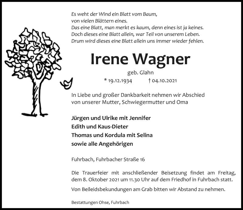 Traueranzeige für Irene Wagner vom 07.10.2021 aus Eichsfelder Tageblatt