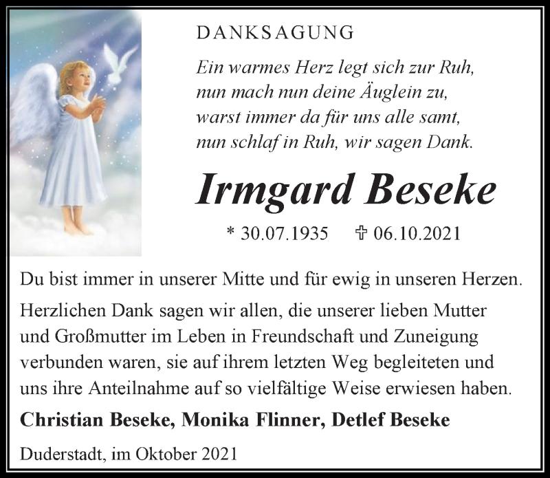 Traueranzeige für Irmgard Beseke vom 23.10.2021 aus Eichsfelder Tageblatt