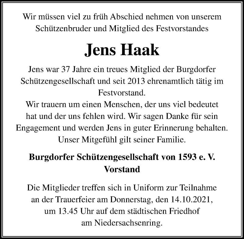 Traueranzeige für Jens Haak vom 13.10.2021 aus Hannoversche Allgemeine Zeitung/Neue Presse