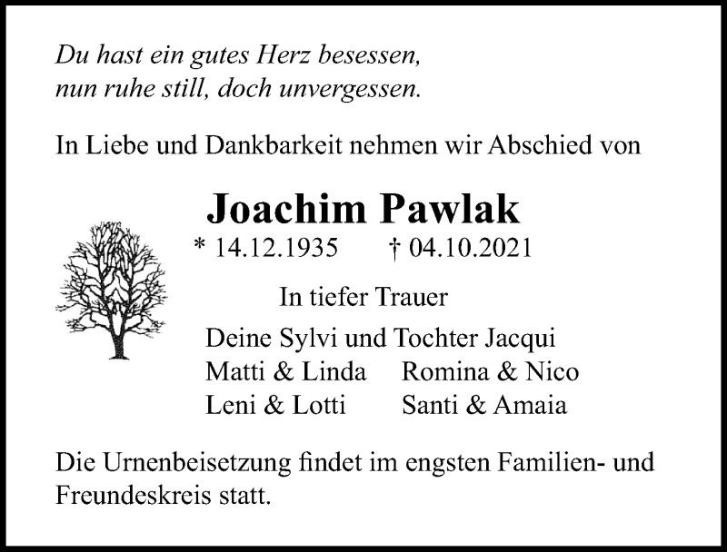 Traueranzeige für Joachim Pawlak vom 09.10.2021 aus Märkischen Allgemeine Zeitung