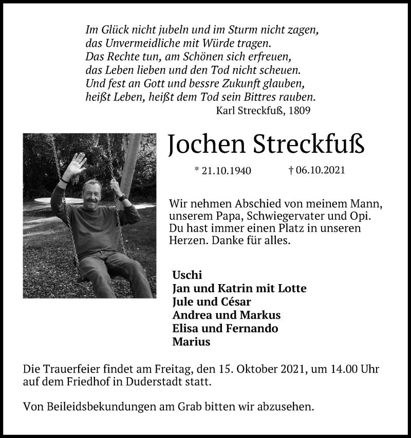 Traueranzeige für Jochen Streckfuß vom 09.10.2021 aus Eichsfelder Tageblatt