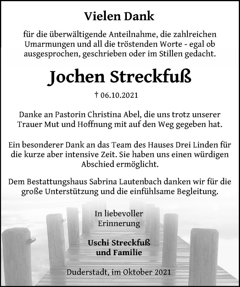 Traueranzeige für Jochen Streckfuß vom 23.10.2021 aus Eichsfelder Tageblatt
