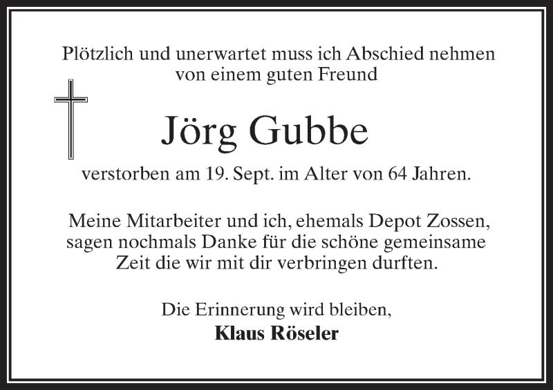 Traueranzeige für Jörg Gubbe vom 09.10.2021 aus Märkischen Allgemeine Zeitung