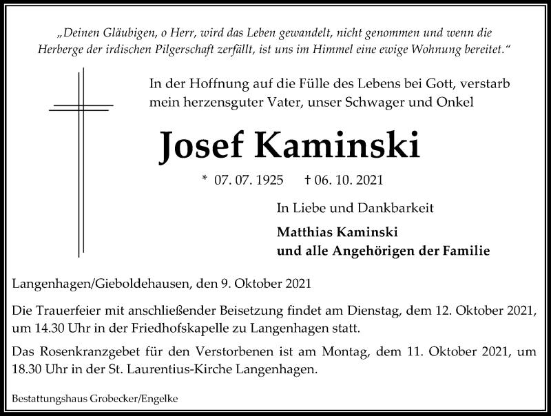 Traueranzeige für Josef Kaminski vom 09.10.2021 aus Eichsfelder Tageblatt
