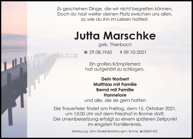 Traueranzeige für Jutta Marschke vom 13.10.2021 aus Aller Zeitung