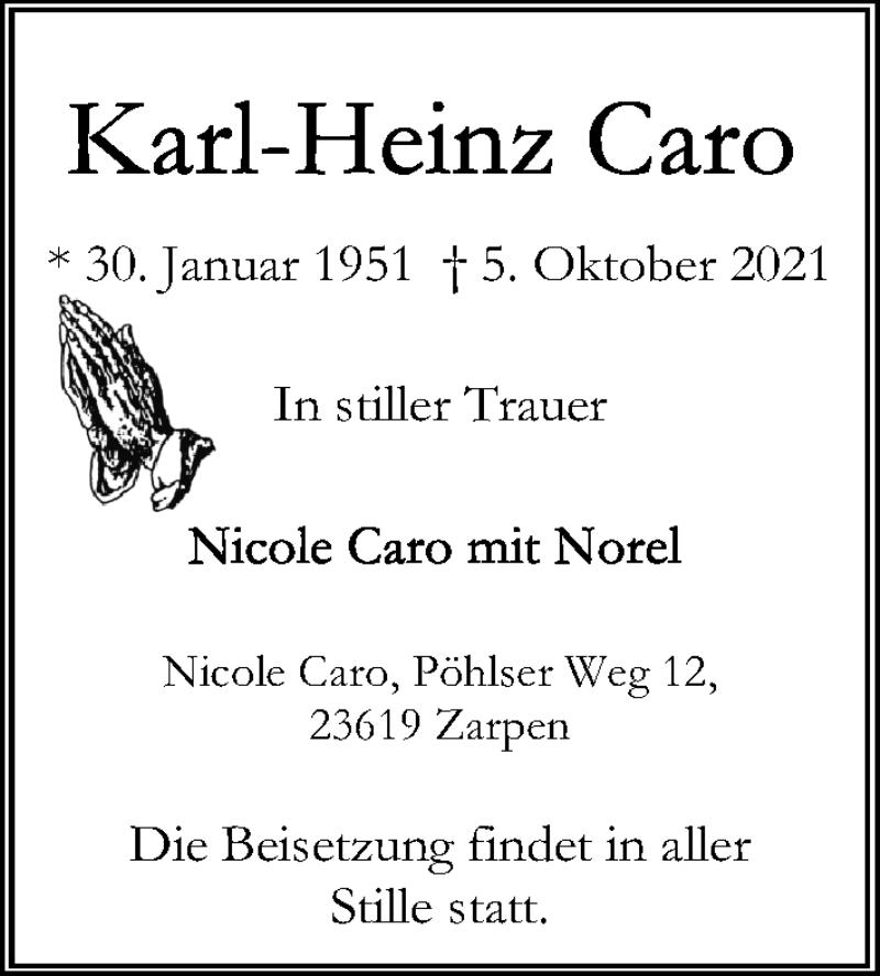 Traueranzeige für Karl-Heinz Caro vom 10.10.2021 aus Lübecker Nachrichten