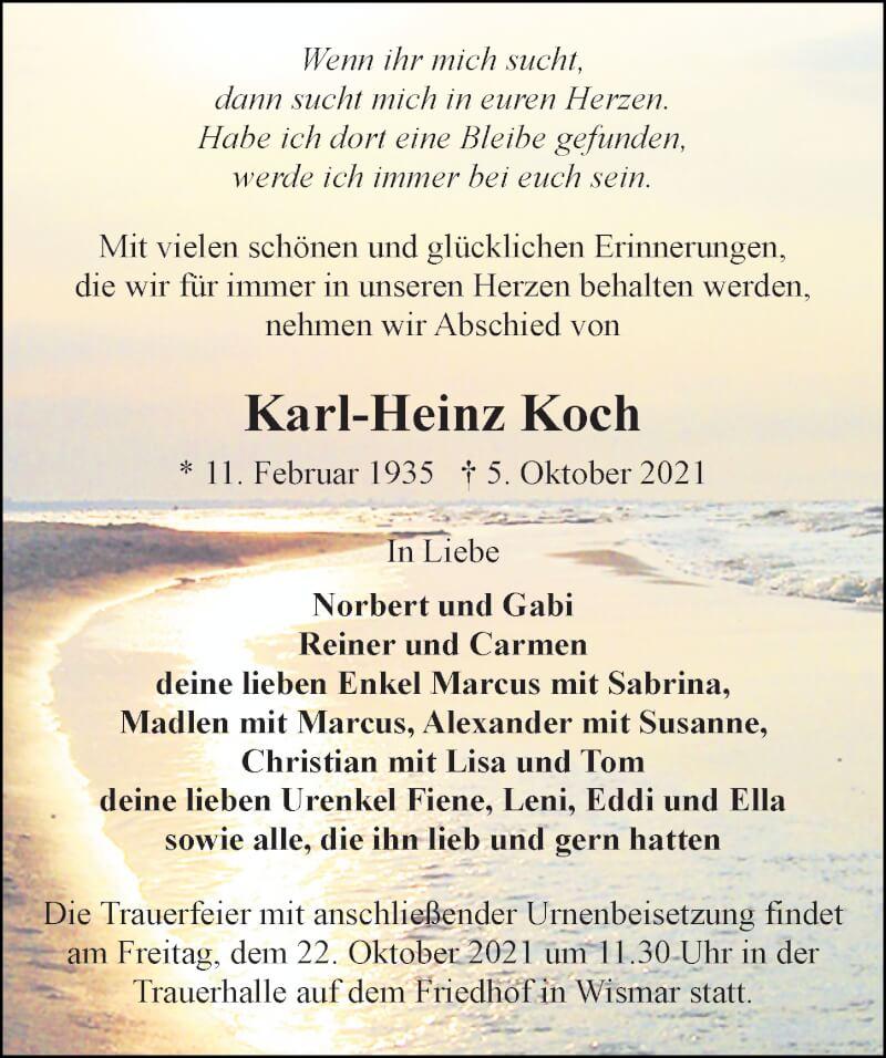 Traueranzeige für Karl-Heinz Koch vom 09.10.2021 aus Ostsee-Zeitung GmbH