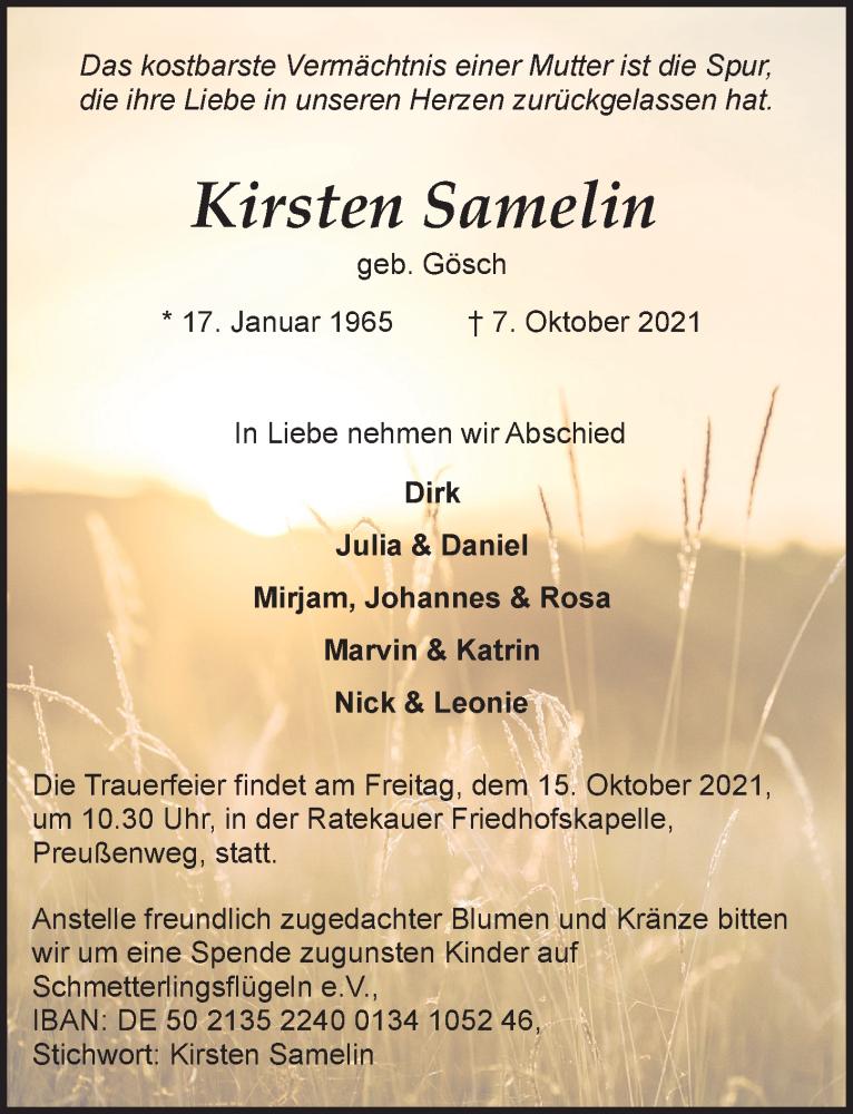 Traueranzeige für Kirsten Samelin vom 13.10.2021 aus Lübecker Nachrichten