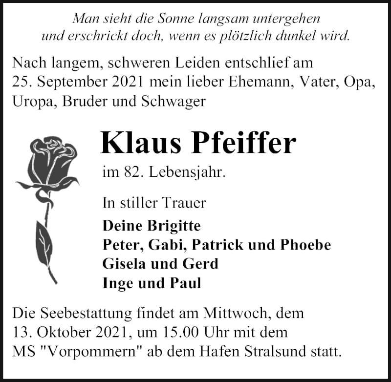 Traueranzeige für Klaus Pfeiffer vom 02.10.2021 aus Ostsee-Zeitung GmbH